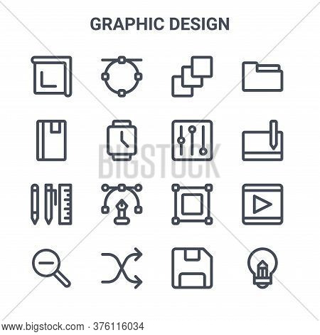 Set Of 16 Graphic Design Concept Vector Line Icons. 64x64 Thin Stroke Icons Such As , Note Book, Tab