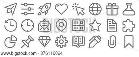 User Interface Line Icons. Linear Set. Quality Vector Line Set Such As Bookmark, Pen, Settings, Pie