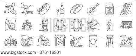 Picnic Line Icons. Linear Set. Quality Vector Line Set Such As Smoke, Beer Can, Bread, Forest, Bottl