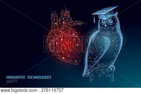 E-learning Distance Medicine Cardio Graduate Certificate Program Concept. Low Poly 3d Render Graduat
