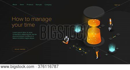 Effective Time Management Isometric Vector Illustration. Woman Prioritizing Tasks Or Organization Fo