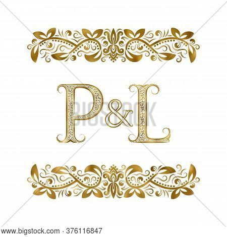 P And L Vintage Initials Logo Symbol. The Letters Are Surrounded By Ornamental Elements. Wedding Or