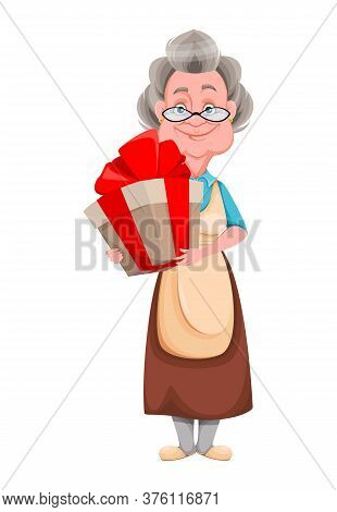 Happy Grandparents Day. Kind Granny With Big Gift Box. Cute Old Woman. Cheerful Grandmother Cartoon