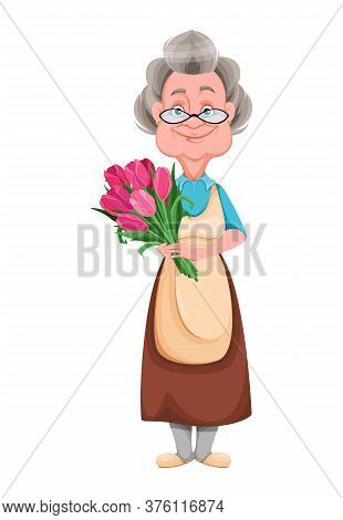 Happy Grandparents Day. Kind Granny Holding A Bouquet Of Tulips. Cute Old Woman. Cheerful Grandmothe