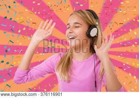 Happy Singing Teenage Girl With Headphones Over Geometric Background With Musical Notes