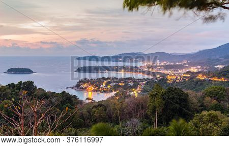 Landscape Of Phuket View Point, Karon Beach, Kata Beach, Taken From Karon Viewpoint In Night. Locate