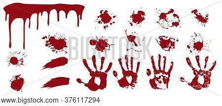 Bloody Spray And Handprints. Red Streaks And Smears With Human Prints Spots Of Death And Horror Evid
