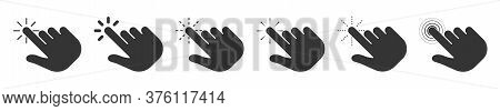 Cursor Computer Mouse Icons. Cursor Click Collection. Vector Pointing Hand Clicks Icons Isolated. Bl