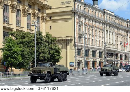 Moscow, Russia - June 24, 2020:auto-filling Stations Ars-14 On The Basis Of Zil-131 On Mokhovaya Str