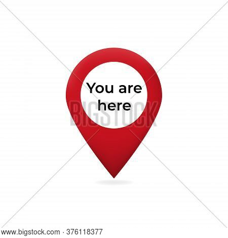 You Are Here Pointer On Web Map. Red Pointer Marked Graphic Sign Of Travel And Location On Map Navig