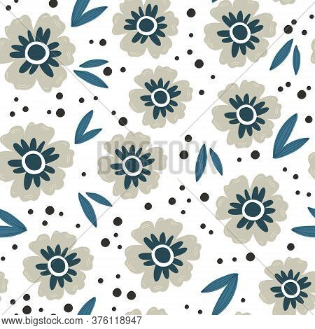Gray And Blue Flowers With Leaves Seamless Pattern, Vector Hand Drawing Greeting Card Template