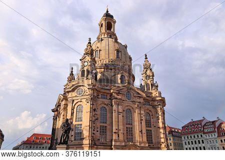 Dresden Frauenkirche Church. Landmark Of Dresden, Germany. Sunset Light.
