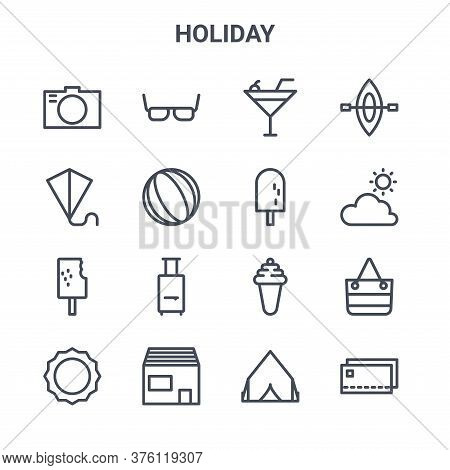 Set Of 16 Holiday Concept Vector Line Icons. 64x64 Thin Stroke Icons Such As Spectacles, Kite, Summe