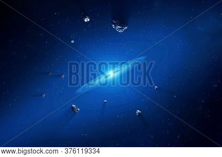 Meteorites In Outer Space. Elements Of This Image Were Furnished By Nasa.
