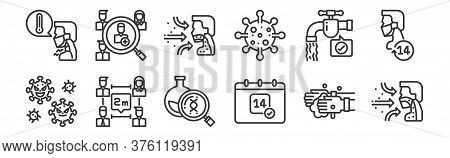 12 Set Of Linear Coronavirus Icons. Thin Outline Icons Such As Respiratory, Calendar, Transmission,