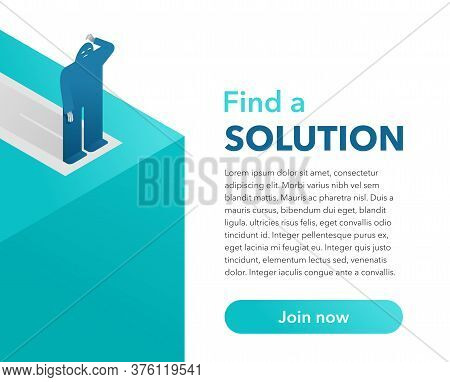 Business Solution Strategy Risks Concept - Flat Cartoon Human Stands At Abyss Precipice With Sample