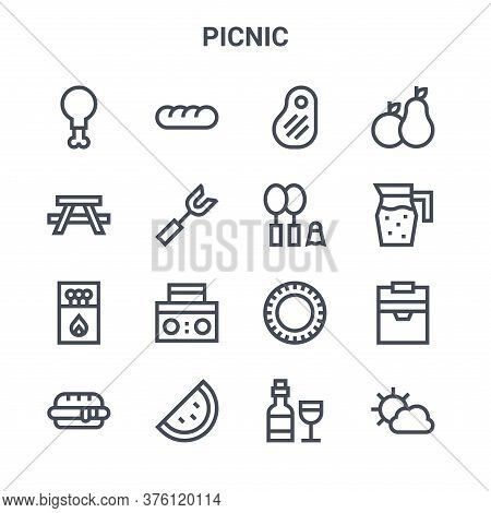 Set Of 16 Picnic Concept Vector Line Icons. 64x64 Thin Stroke Icons Such As Bread, Picnic Table, Jui