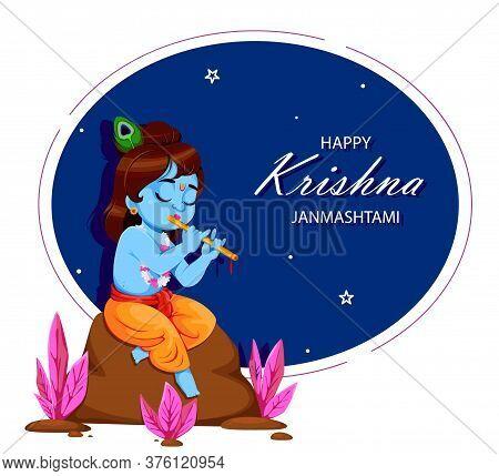 Happy Krishna Janmashtami. Lord Krishna Playing Flute. Happy Janmashtami Festival Of India. Vector I