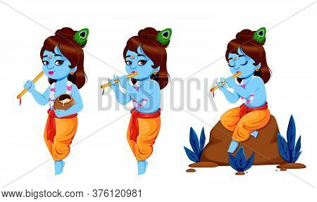 Happy Krishna Janmashtami, Set Of Three Poses. Lord Krishna With Flute. Happy Janmashtami Festival O
