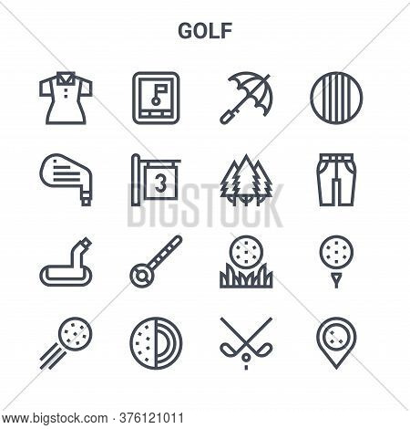 Set Of 16 Golf Concept Vector Line Icons. 64x64 Thin Stroke Icons Such As Gps, Iron, Pants, Golf Bal