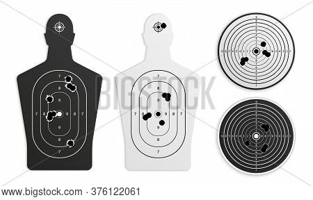 Bullet Holes Target Realistic Set On Blank Background With Isolated Images Of Gunnery Training Paper