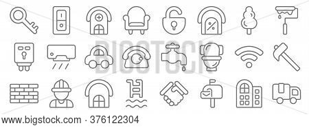 Property Line Icons. Linear Set. Quality Vector Line Set Such As Truck, Mailbox, Swimming Pool, Bric