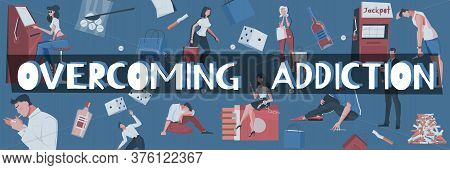 Addiction Pattern Composition Of Editable Text Surrounded By Flat Human Characters And Images Of Add