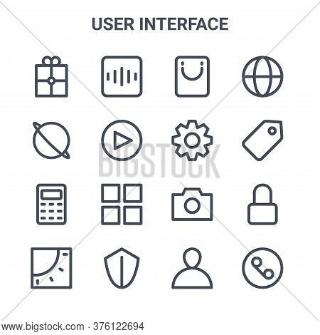 Set Of 16 User Interface Concept Vector Line Icons. 64x64 Thin Stroke Icons Such As Radio, Browser,
