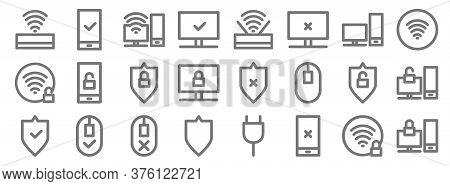 Computer Hardware Line Icons. Linear Set. Quality Vector Line Set Such As Locked, Broken, Protect, P