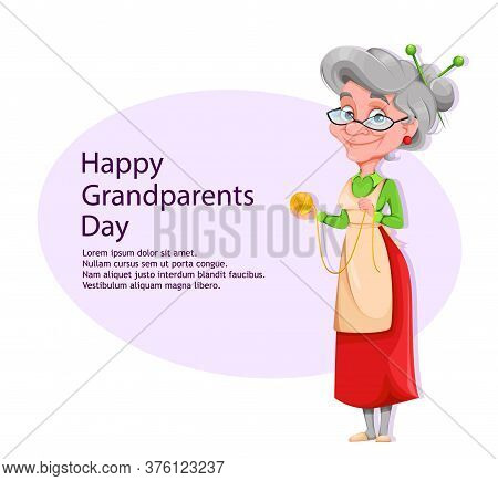 Happy Grandparents Day Greeting Card With Copyspace. Cute Smiling Old Woman. Cheerful Grandmother Ca
