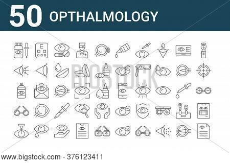 Set Of 50 Opthalmology Icons. Outline Thin Line Icons Such As Diagnose, Laser Surgery, , Spray, Eye,