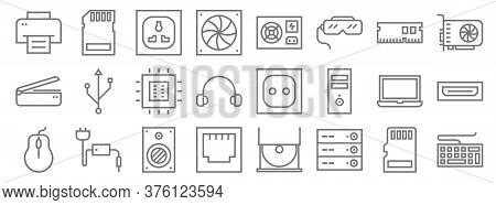 Hardware Line Icons. Linear Set. Quality Vector Line Set Such As Keyboard, Server, Ethernet, Mouse,