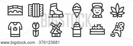 12 Set Of Linear Holland Icons. Thin Outline Icons Such As Holland, Milk Can, Tulip, Boy, Ice Skatin