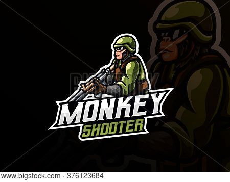 Monkey Mascot Sport Logo Design. Monkey Warrior Mascot Vector Illustration Logo. Monkey Mascot Desig