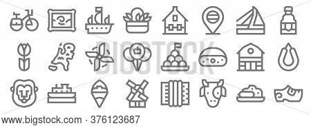 Holland Line Icons. Linear Set. Quality Vector Line Set Such As Clogs, Cow, Windmill, Lion, Barn, Wi