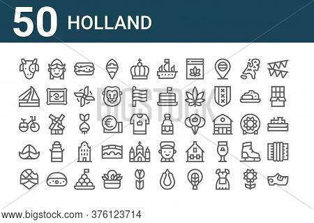 Set Of 50 Holland Icons. Outline Thin Line Icons Such As Clogs, Stroopwafel, Hat, Bike, Bridge, Girl