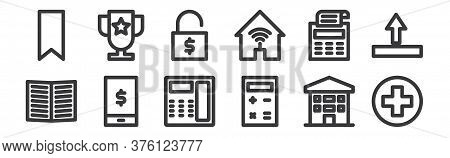 12 Set Of Linear Marketing Business Icons. Thin Outline Icons Such As Additional, Calculator, Phone,