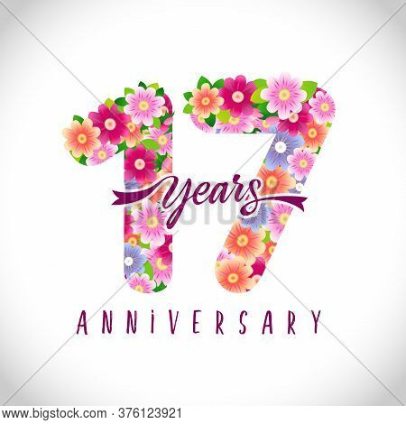 17 Th Anniversary Numbers. 17 Years Old Logotype. Floral Pink Congrats. Isolated Abstract Graphic De