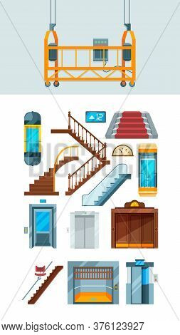 Elevator. Building Stairs Apartment Lifting Mechanism Vector Collection Of Elevators. Lift Down And