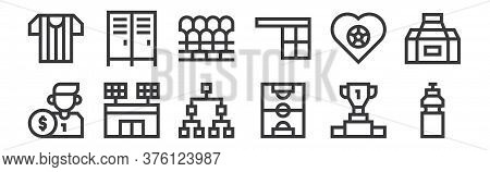 12 Set Of Linear Soccer Icons. Thin Outline Icons Such As Water Bottle, Soccer Field, Football, Love