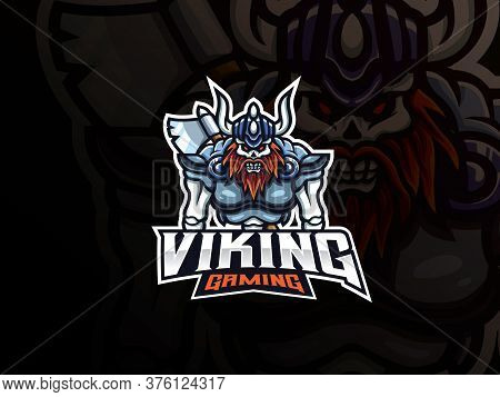 Viking Skull Mascot Sport Logo Design. Death Warrior Mascot Vector Illustration Logo. Viking Mascot