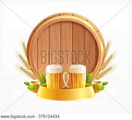 Wooden Barrel Beer Emblem Realistic Composition With Glasses Pieces Of Wheat Heads And Wood Beer Cas