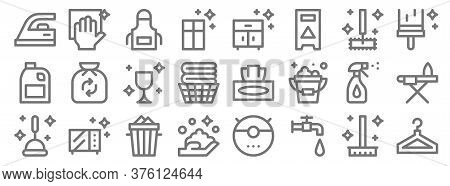 Cleaning Line Icons. Linear Set. Quality Vector Line Set Such As Clothes Hanger, Water Tap, Hand Was