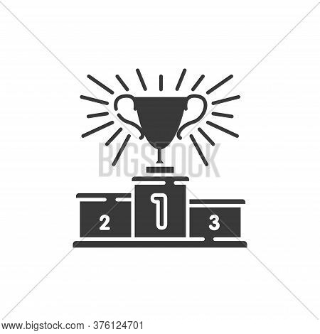 Podium Sports Awards Black Glyph Icon. Golden Winners Cup First Place On Podium. Championship Prize.