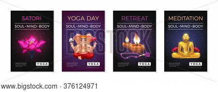 Yoga Soul Mind Body Meditation Retreat Starry Sky Background Vedic Posters Set With Candles Lotus Ve