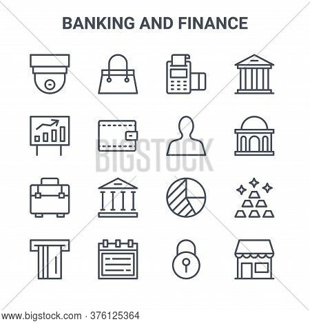 Set Of 16 Banking And Finance Concept Vector Line Icons. 64x64 Thin Stroke Icons Such As Handbag, Gr
