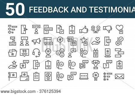 Set Of 50 Feedback And Testimonials Icons. Outline Thin Line Icons Such As Email, Flag, Feedback, Fo