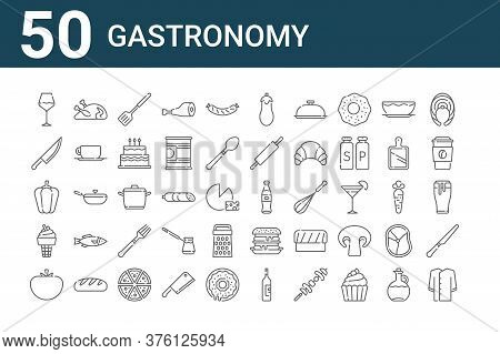 Set Of 50 Gastronomy Icons. Outline Thin Line Icons Such As Suit, Tomato, Ice Cream, Bell Pepper, Kn