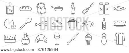 Gastronomy Line Icons. Linear Set. Quality Vector Line Set Such As Suit, Ice Cream, Wine Glass, Chef