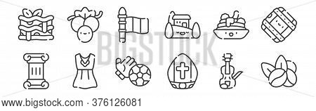 12 Set Of Linear Italy Icons. Thin Outline Icons Such As Coffee Beans, Pope, Dress, Spaghetti, Italy